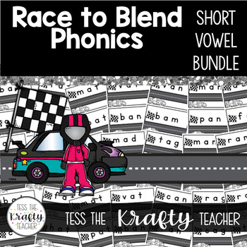 Blending CVC words short vowels with digraphs BUNDLE