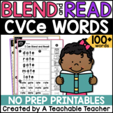 CVCe Worksheets | Blending & Reading Words with CVCe