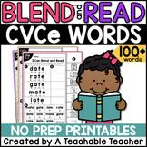 CVCe Worksheets | Blending & Reading Words with CVCe