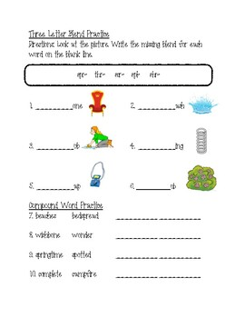 Blending/ Compound Word Practice