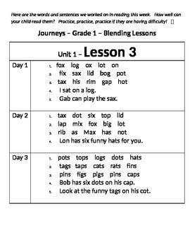 Blending Lessons 1 - 30   Journeys First Grade