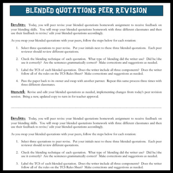 Blending Quotes for ESSAY WRITING with TCS (Transition, Context, Speaker)