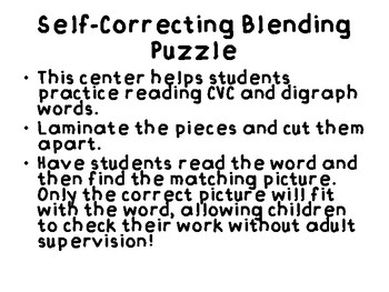 Blending Words Self Correcting Puzzle
