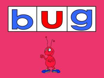 Blending words short u vowel sound PowerPoint- Kindergarten- 1st