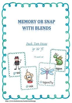 Blends 2 'dr' 'fr' 'gr' Memory or Snap Game Cards Literacy