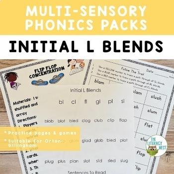 Initial L Blends Orton-Gillingham Level 1 Multisensory Phonics Activities