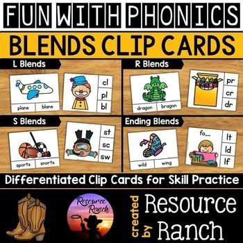 Blends Activity Beginning Blends Clip Cards