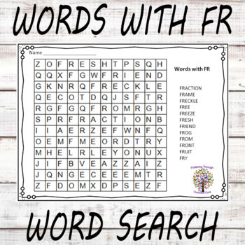 Blends BR CR DR FR Word Search Puzzles