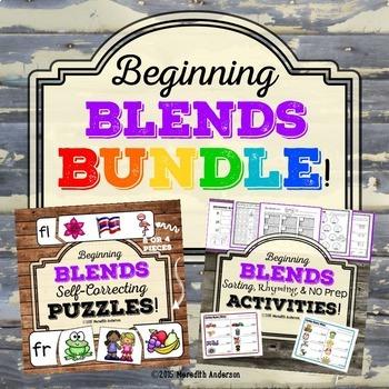 Blends BUNDLE: Beginning Blends Puzzles and Printables