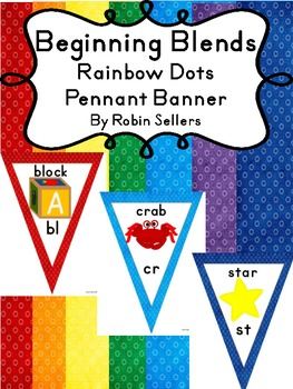 Blends - Beginning Blends and Digraphs Rainbow Classroom Decor Pennant Banner