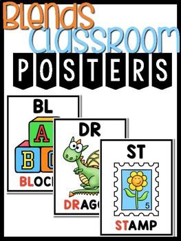 Consonant Blends Posters R, L, S Classroom Decor