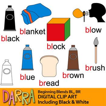 Blends Clip Art / Common Beginning blends clipart / bl, br words