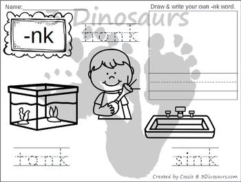 Blends Coloring Pages: Ending Sounds