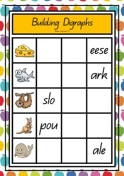 Blends and Digraphs Cookie Sheet Word Building Cards