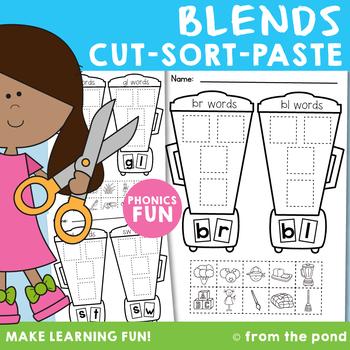 Blends Cut Sort Paste Worksheets
