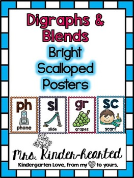 Blends & Digraphs Posters w/ SmartBoard Routine (D'Nealian Included)
