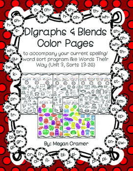 Blends & Digraphs Color Pages (Words Their Way) U3 Sorts 13-26 Letter Name-Alpha