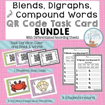 Blends, Digraphs, & Compound Words QR Code Task Card Bundle