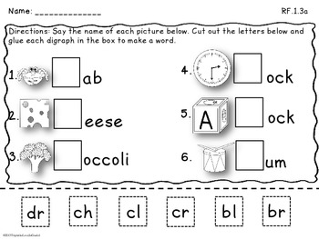 Blends & Digraphs Cut and Paste