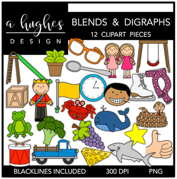 Blends & Digraphs Clipart {A Hughes Design}