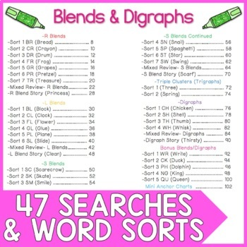Blends and Digraphs Word Work: Highlight & Record