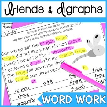 Blends and Digraphs Word Work