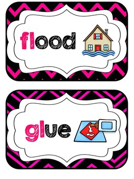 Blends & Digraphs Mini-Reference Posters Color/B&W {Hot Pink & Black Theme}