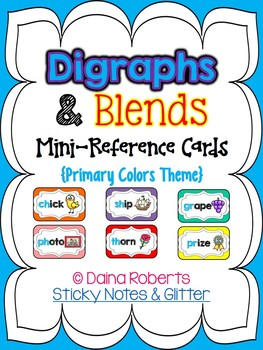 Blends & Digraphs Mini-Reference Posters Color/B&W {Primary Colors Theme}