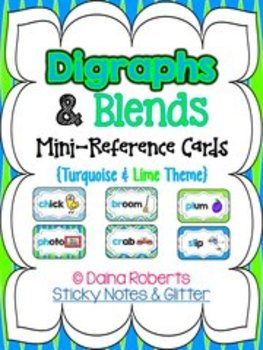Blends & Digraphs Mini-Reference Posters Color/B&W {Turquoise & Lime Theme}