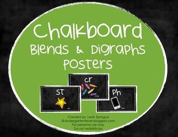 Blends & Digraphs Posters - Chalkboard