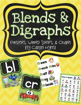 Blends & Digraphs Posters, Word Strips, & Chart