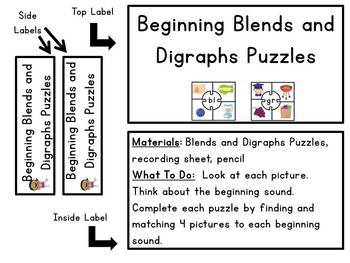 Consonant Blends and Digraphs Puzzles - Grab and Go Center