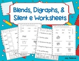 Blends, Digraphs, & Silent e Worksheets
