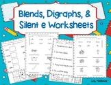 Blends, Digraphs, & Silent e Worksheets