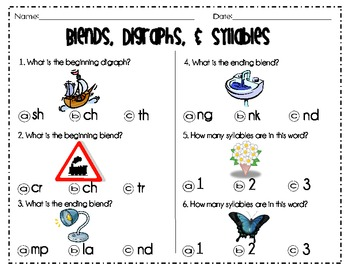 Blends, Digraphs, & Syllables For K and 1