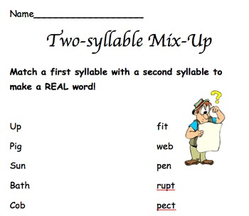 Blends, Digraphs, Syllables- OH MY! (worksheets)