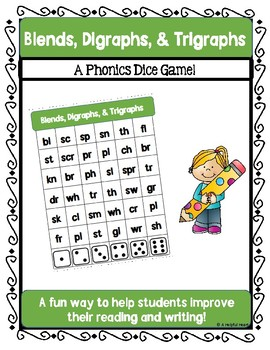 Blends, Digraphs, & Trigraphs Dice Game!