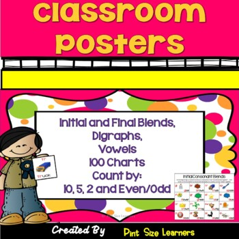 Blends Digraphs Vowels and Four 100 Charts Classroom Instructional Posters