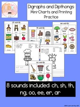 Digraphs and Dipthongs Mini-Chart Set