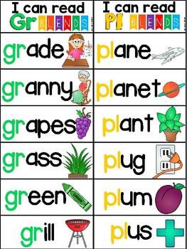 Blends Fluency Word Strips S,L,R Blends