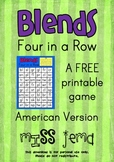Blends Four in a Row - A FREE printable game American Version