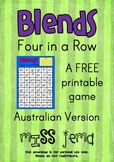 Blends Four in a Row - A FREE printable game Australian Version