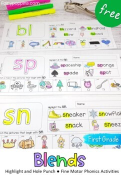 Blends Worksheets- Highlight & Hole Punch