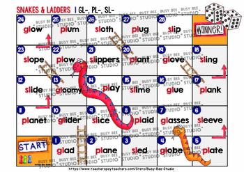 L Blends Game: Snakes and Ladders (bl, cl, fl, gl, pl, sl)