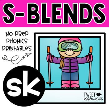 "Blends Phonics NO PREP Printables for ""sk"""