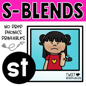 Let's Learn Blends! NO PREP Phonics Printables! (ST)