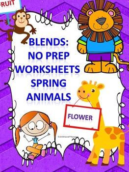 Blends: Worksheets (Spring Animals)