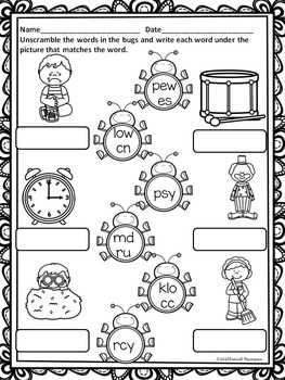 """Spring Bugs """"L, R, and S Blends"""" (Worksheets)"""