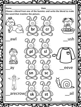 "Spring Bunnies ""L, R and S Blends"" (Worksheets)"