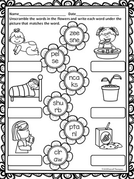"Spring Flowers ""L, R, and S Blends"" (Worksheets)"